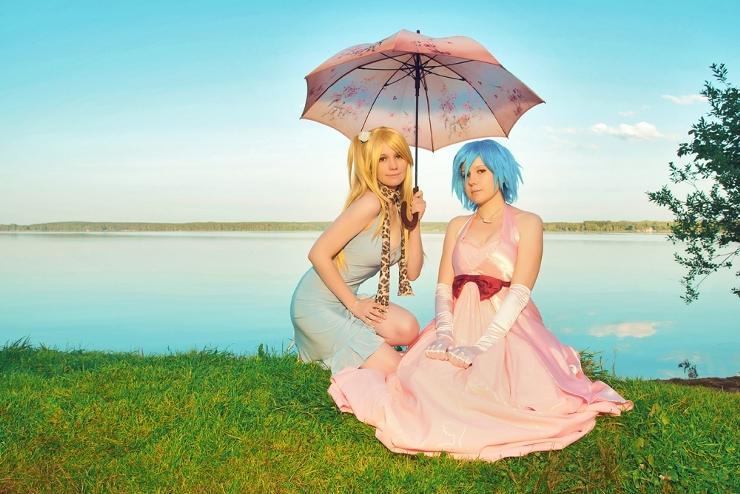 две девушки под зонтом Lucy_Heartfilia Juvia_Loxar Fairy_Tail by Elena Foto by Narsil