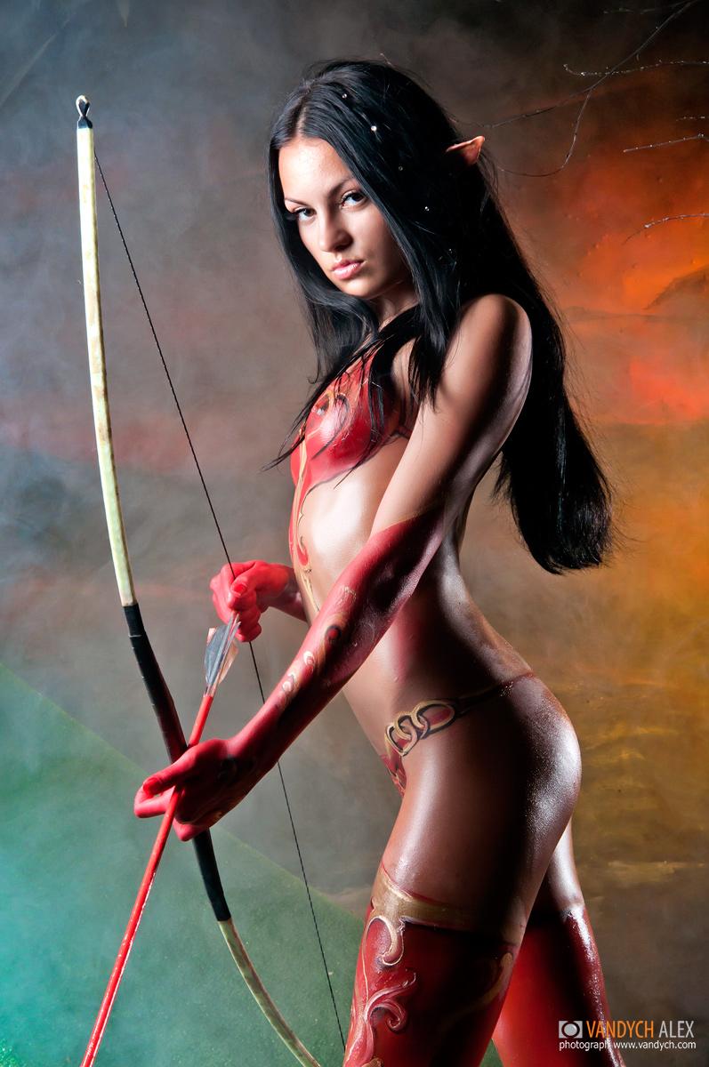 девушка blood elf косплей warcraft Body Art Нательная живопись